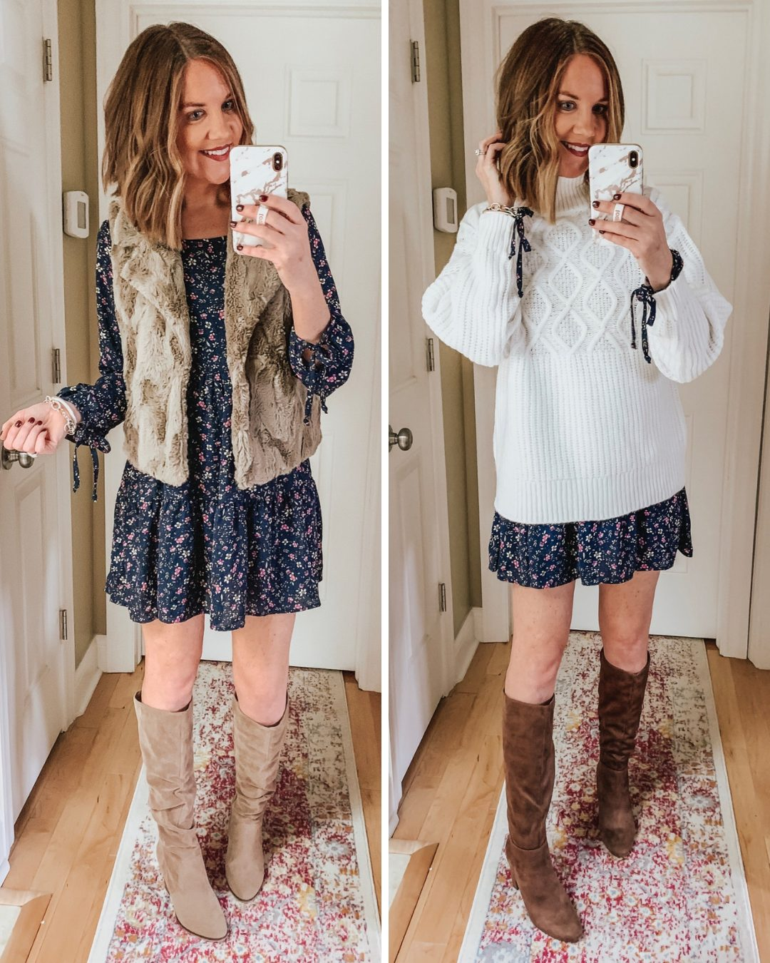 Thanksgiving Outfit Ideas, layering a mini dress, tall boots