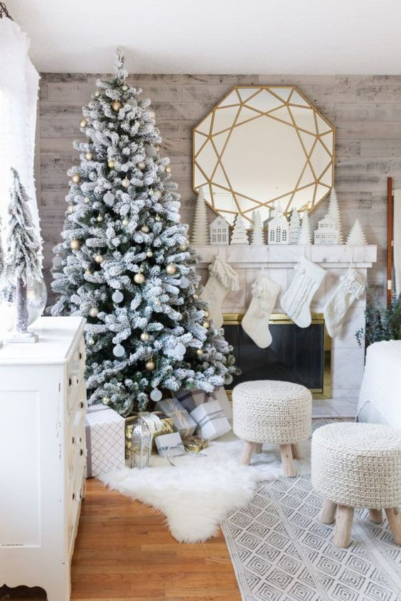 Home Tech and Kids Black Friday Sales, flocked-Christmas-tree-with-metallic-ornaments-knit-stockings-and-stools-and-a-faux-fur-throw