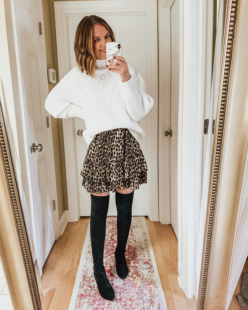 Amazon ruffle leopard skirt