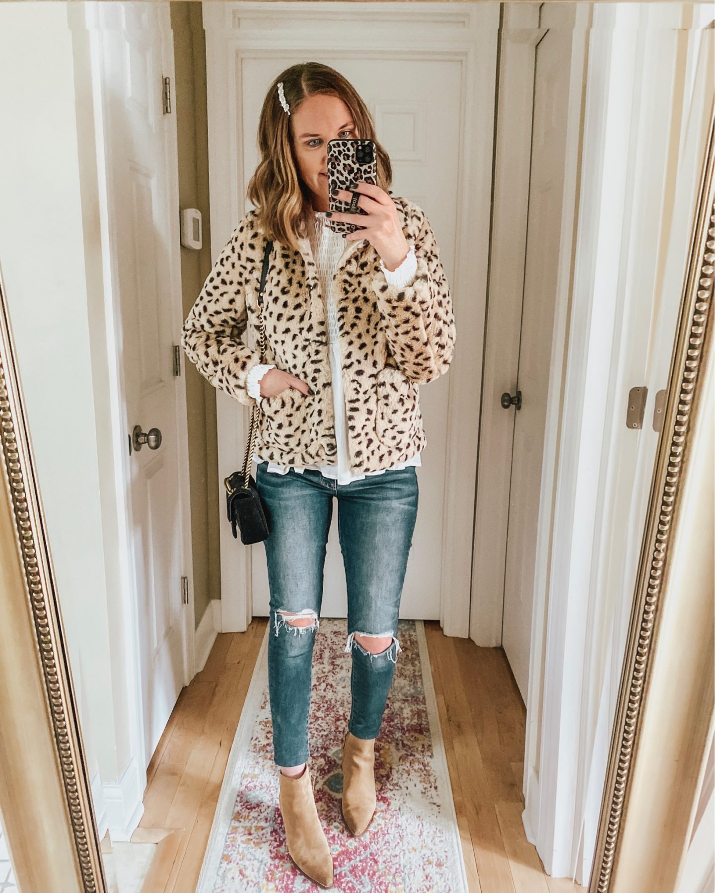 how to incorporate animal print into your wardrobe, faux fur leopard print cropped jacket