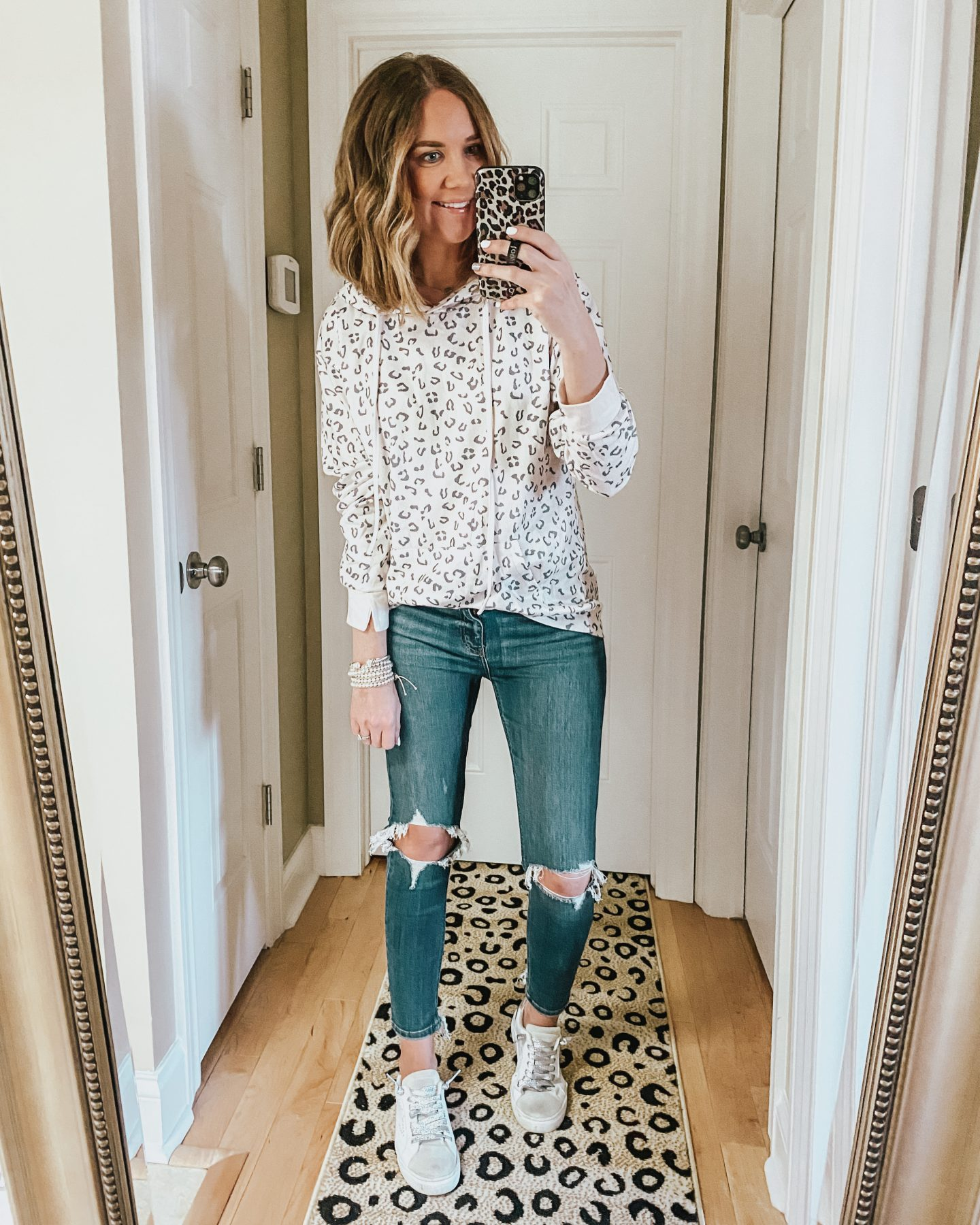 Amazon fashion, leopard hoodie, casual spring outfit