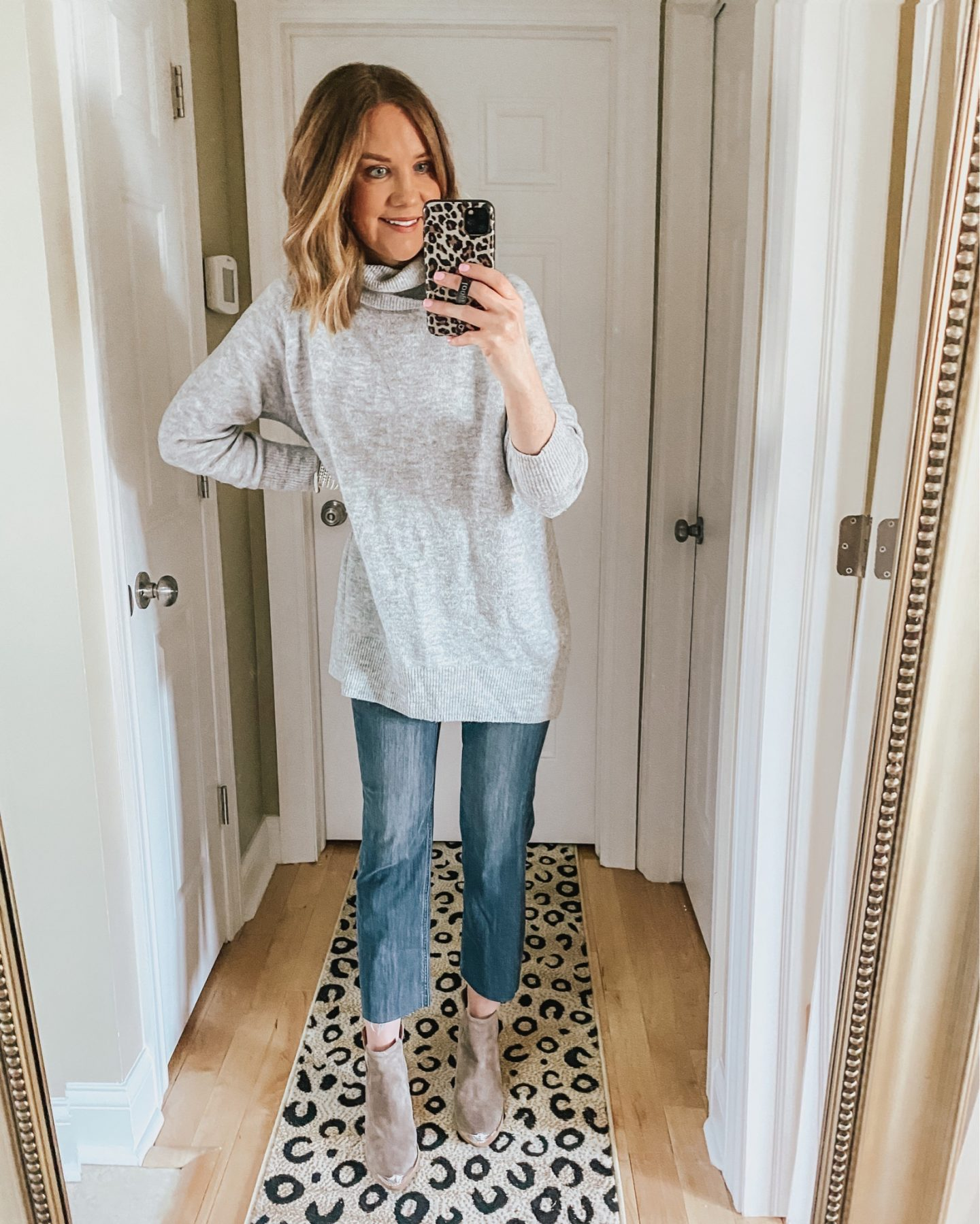 tunic sweater, straight leg jeans, booties