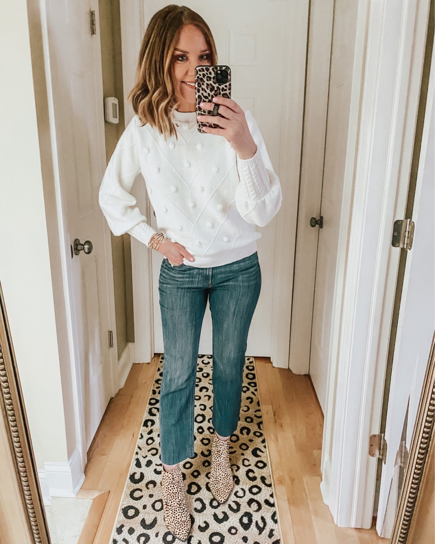 Madewell pompom sweater dupe, how to style straight leg jeans