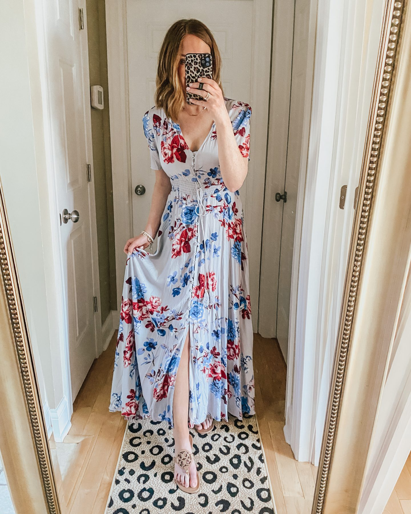 floral maxi dress, kimono, convertible dress