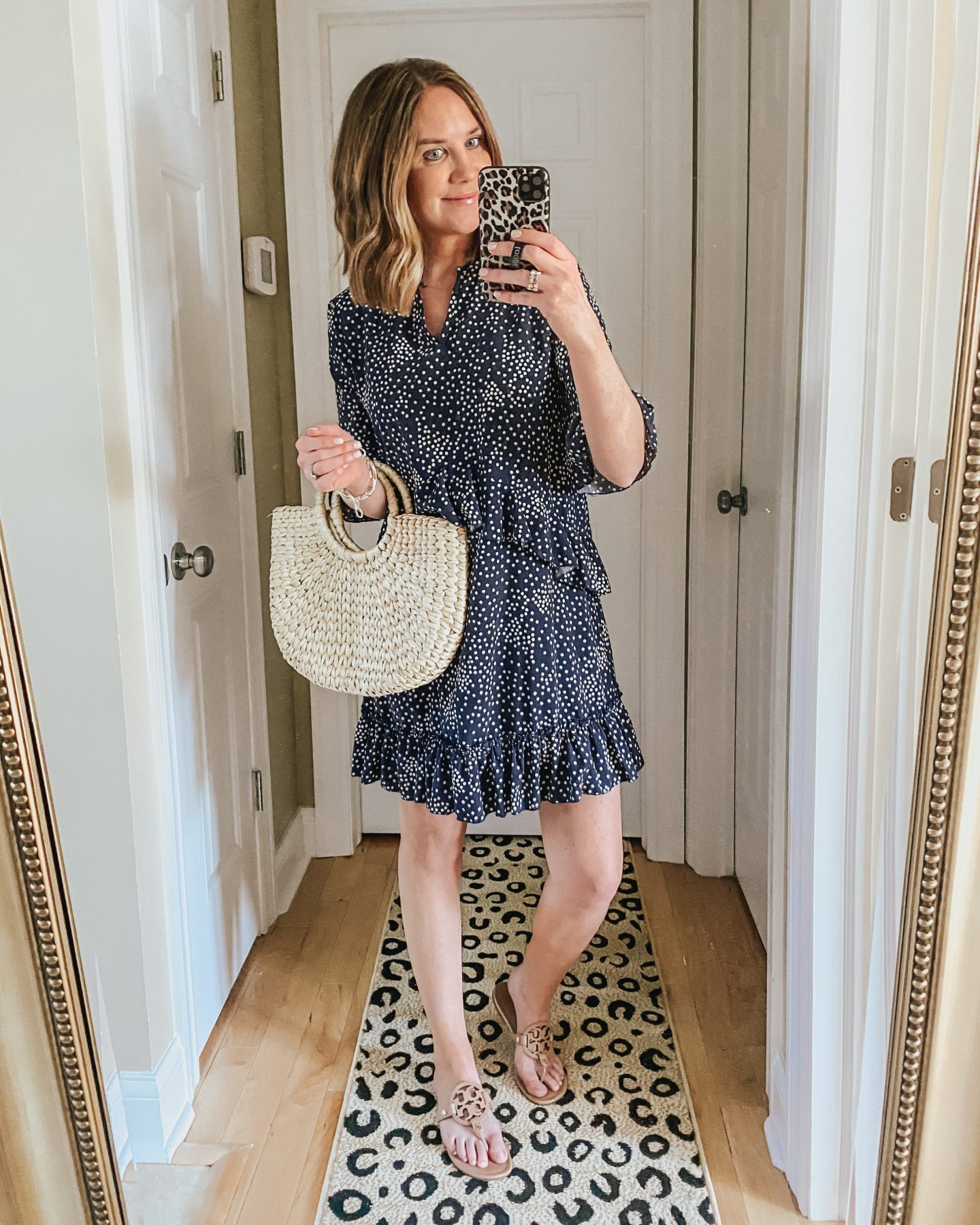 the best amazon finds for spring and summer, navy polka dot ruffle mini dress