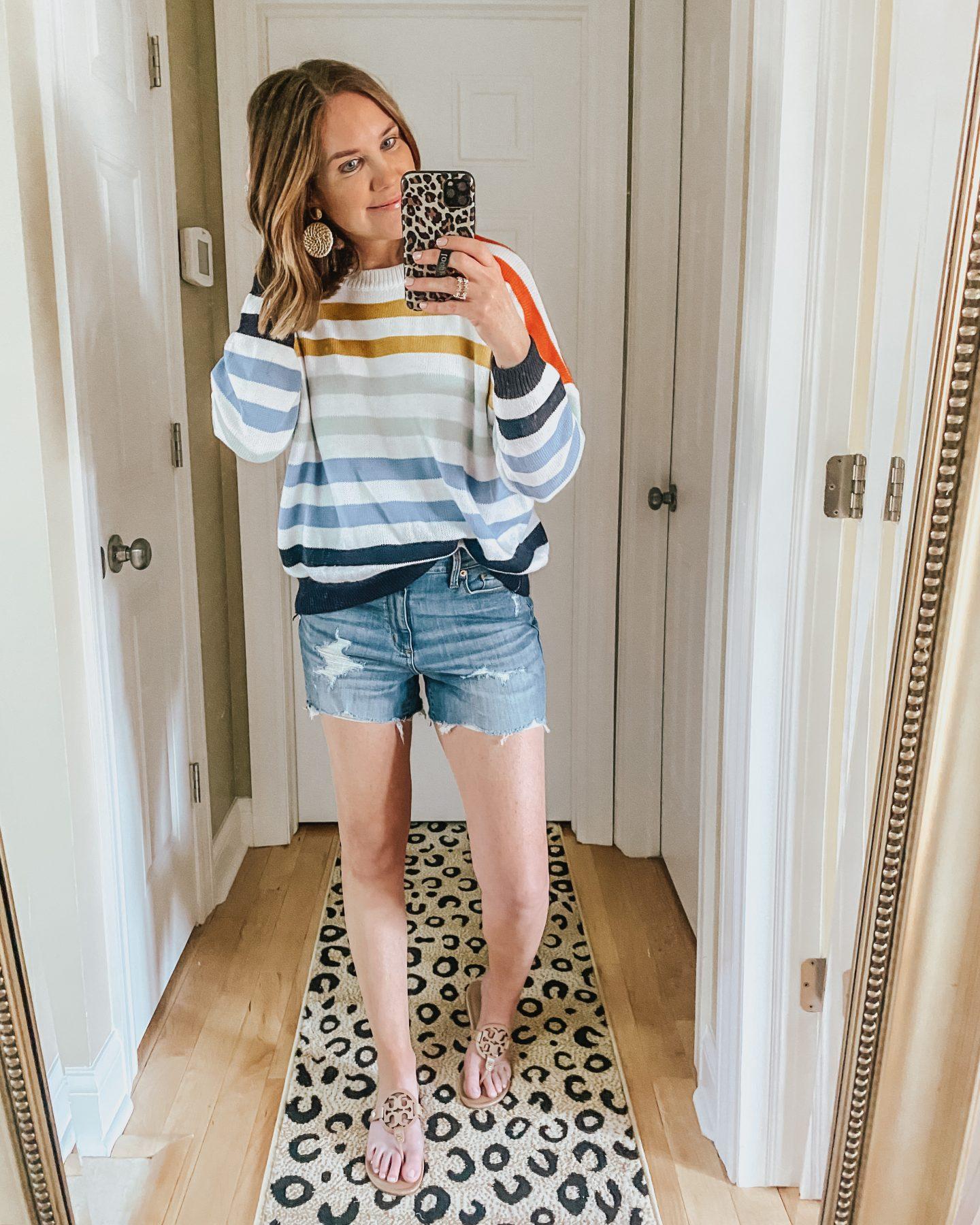 Amazon fashion, dupes, spring sweater, rainbow striped sweater
