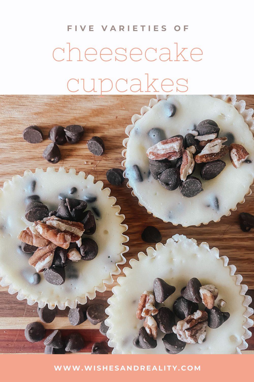 Five varieties of cheesecake cupcakes