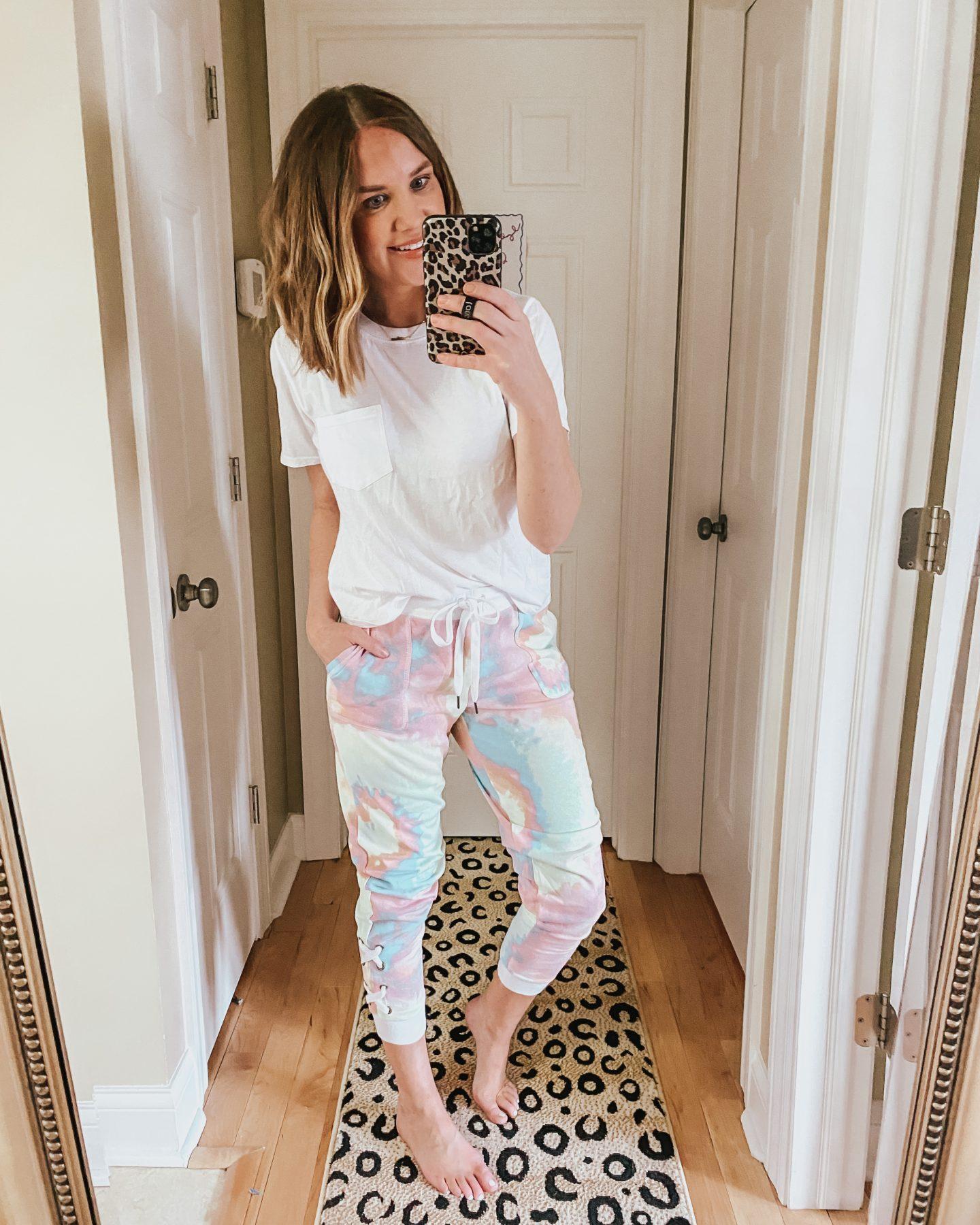 Walmart spring fashion, tie dye joggers