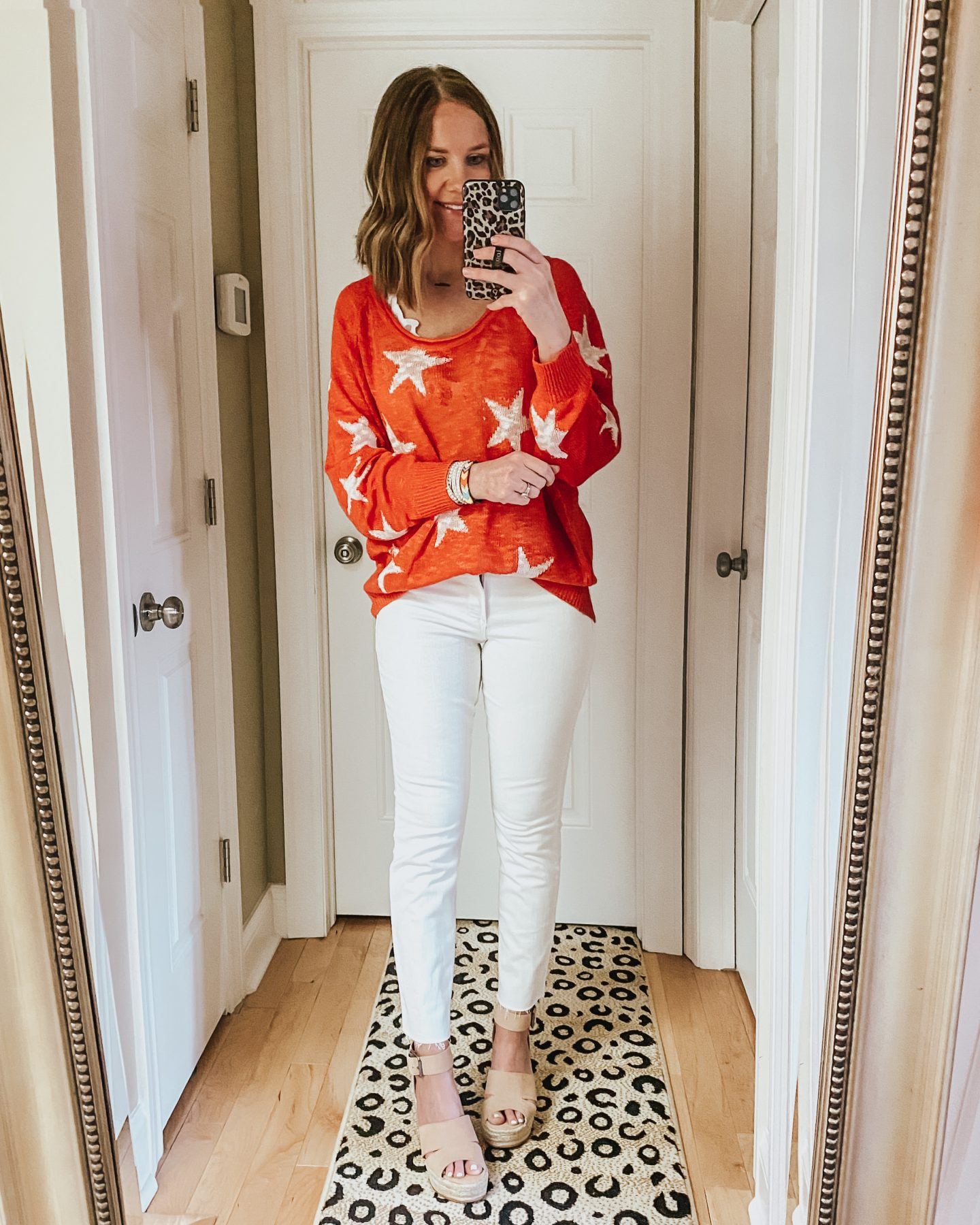 star print sweater, white jeans, date night outfit, spring sweater