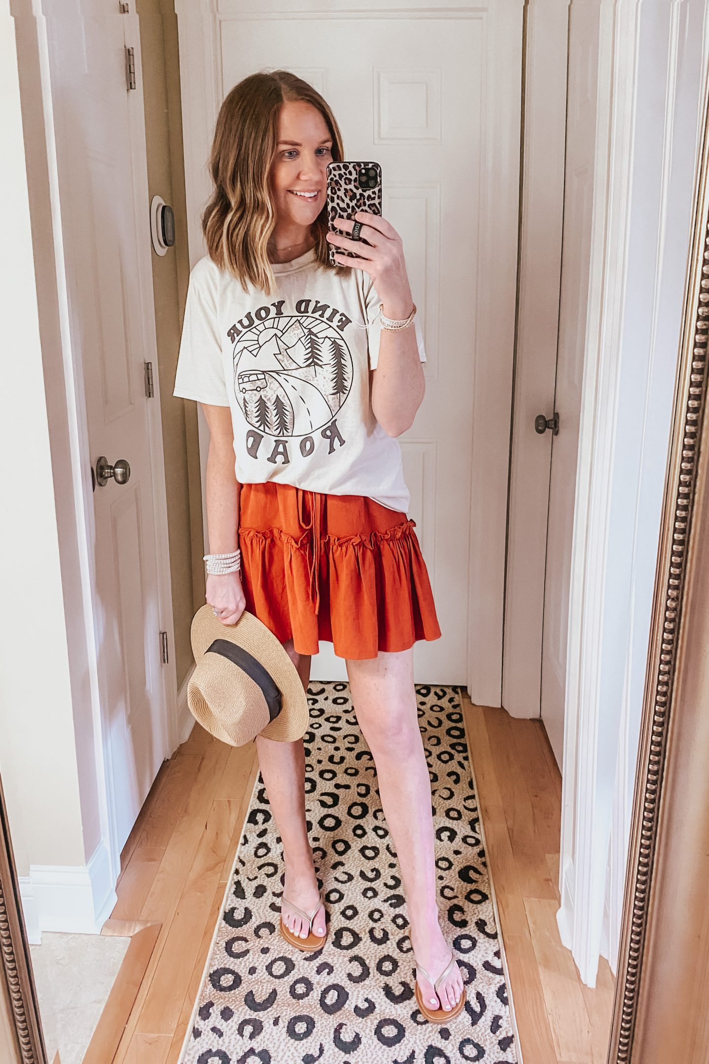 Best-Amazon-Fashion-Finds-for-Spring-find-your-road-tee-tiered-miniskirt