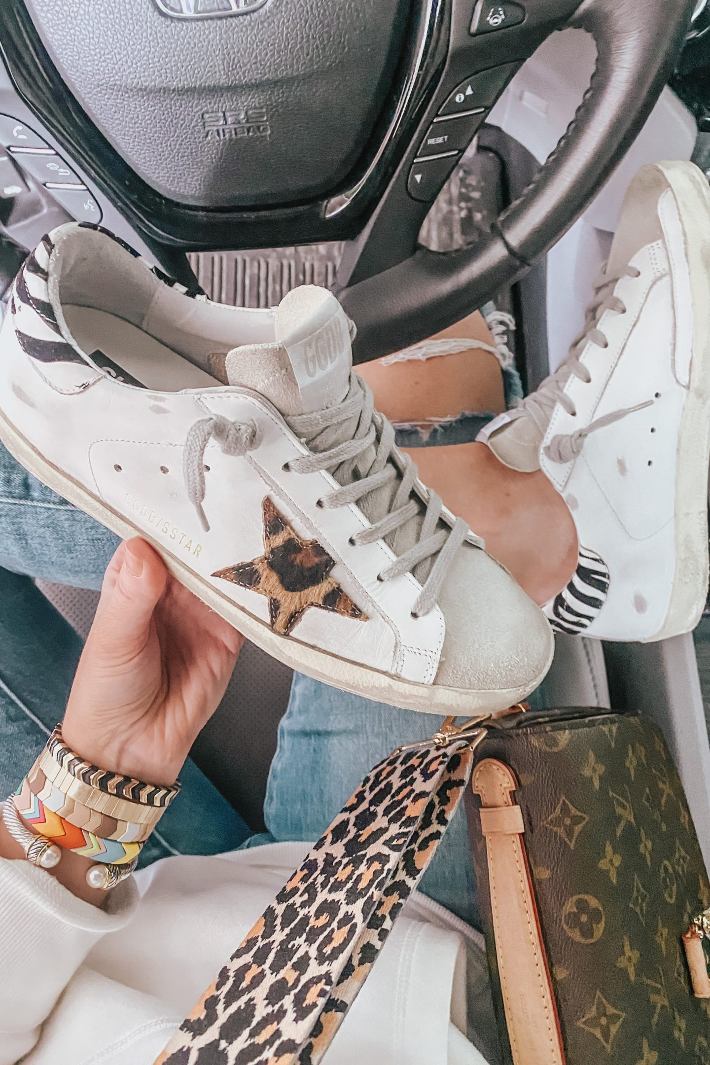 Golden Goose sneakers with Leopard star, LV Neverfull MM dupe
