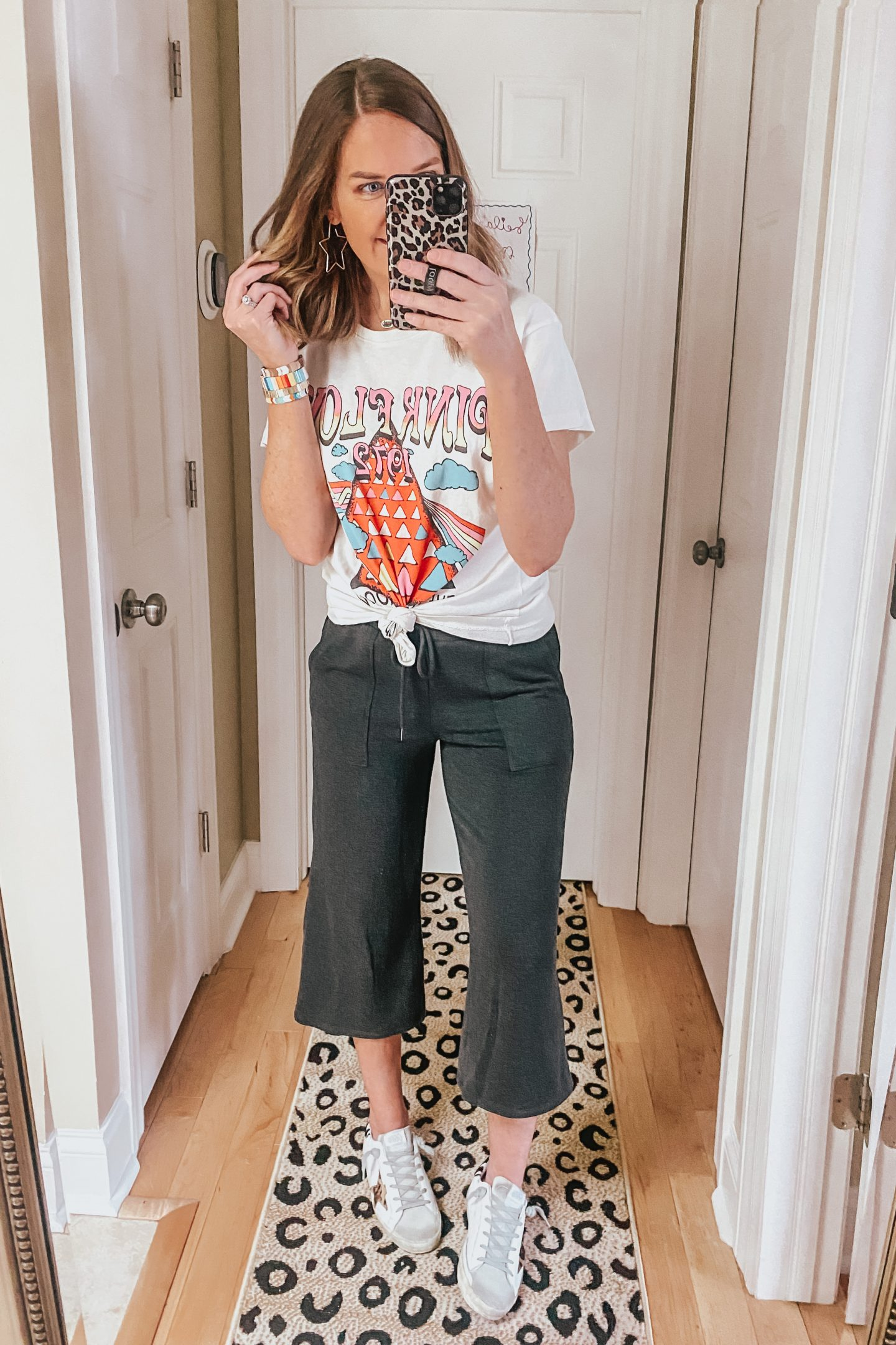 Wide leg cropped pants, loungewear, graphic tee