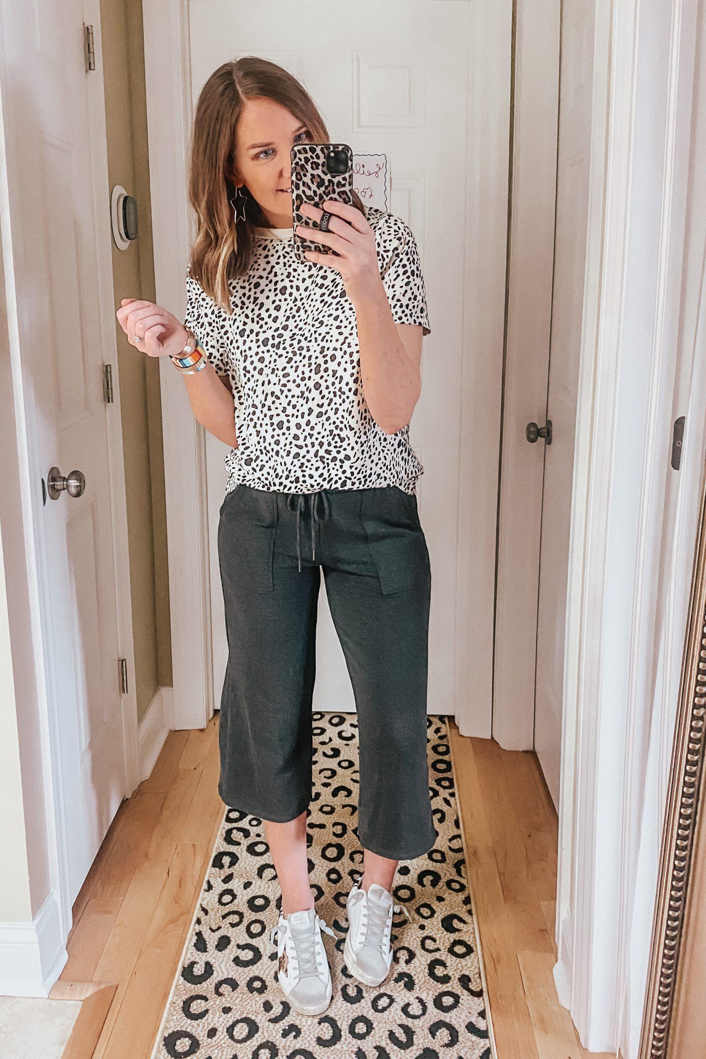 athleisure stile, easy outfit, Amazon fashion, leopard print t-shirt