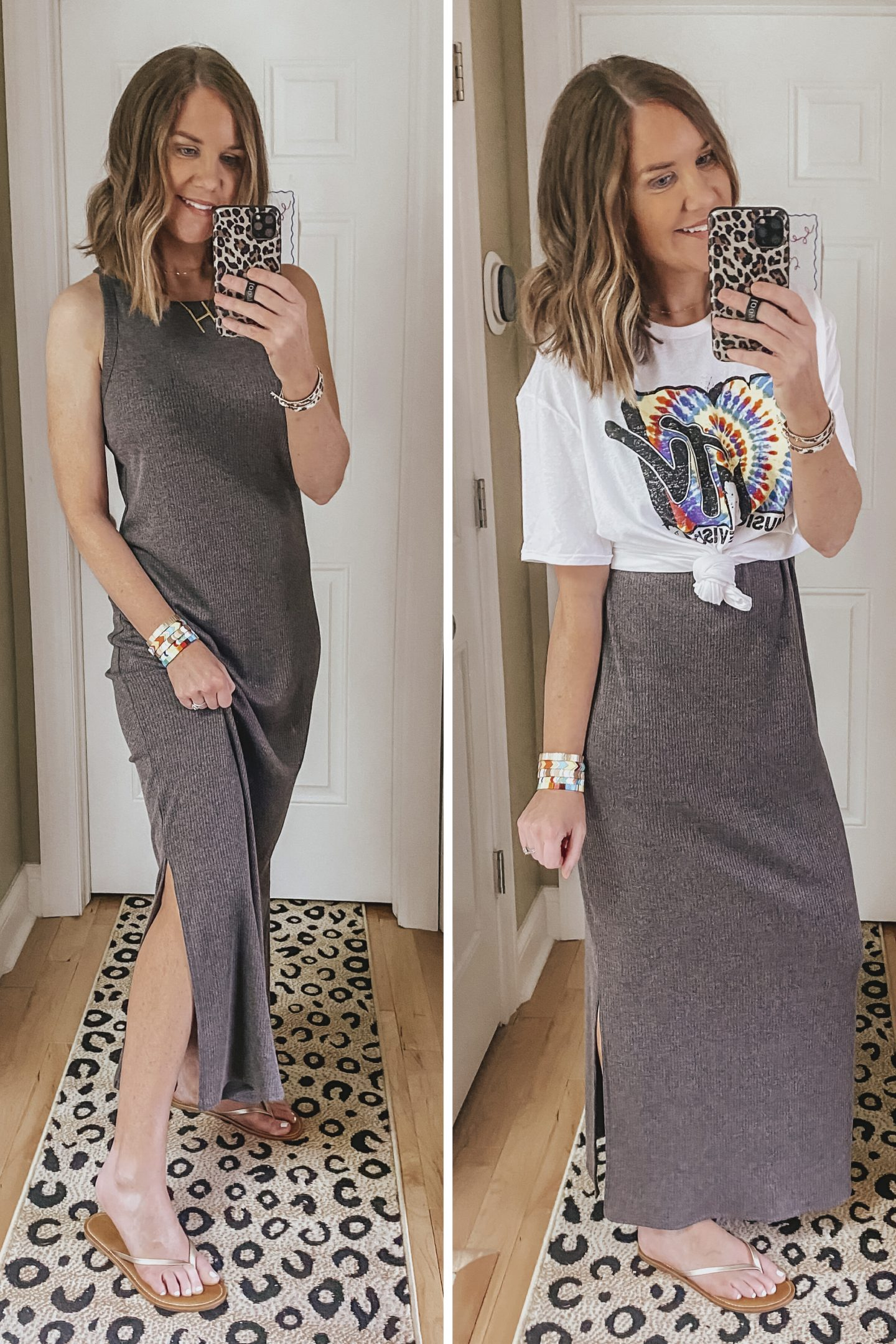 Target Summer Outfits for Women, cotton column dress, how to layer a graphic tee over a maxi dress