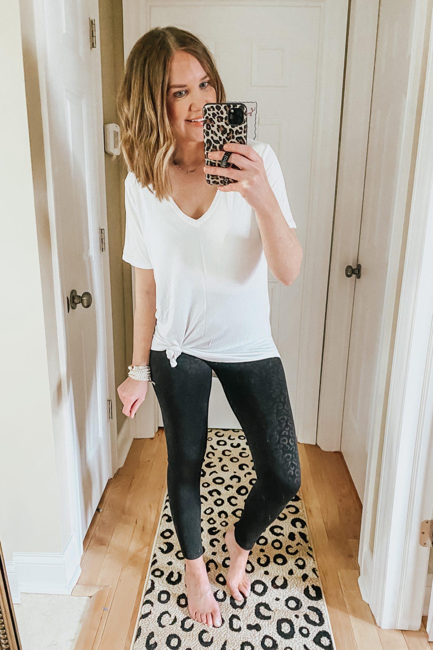 black leopard embossed leggings