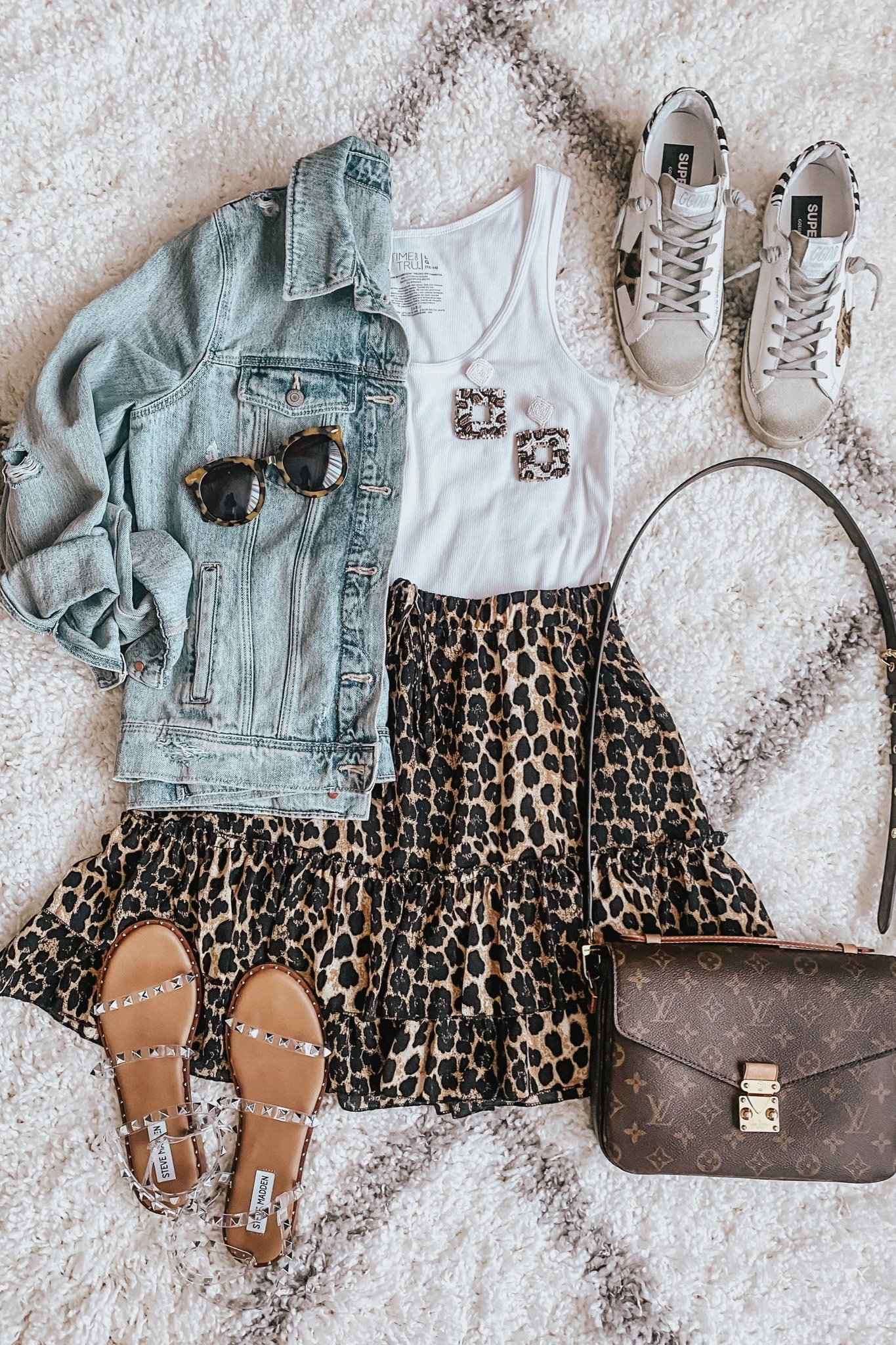 leopard ruffle mini skirt outfit, LV Neverfull MM dupe