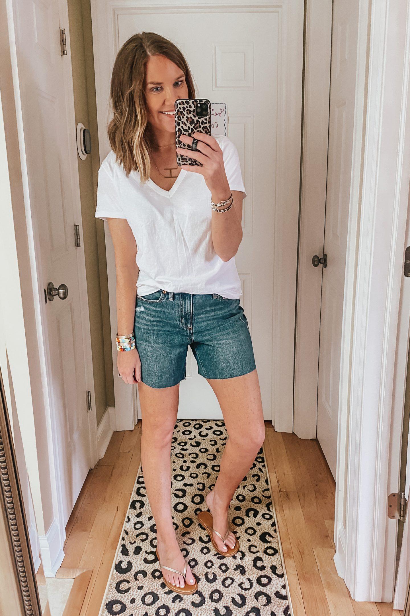 longer length jean shorts