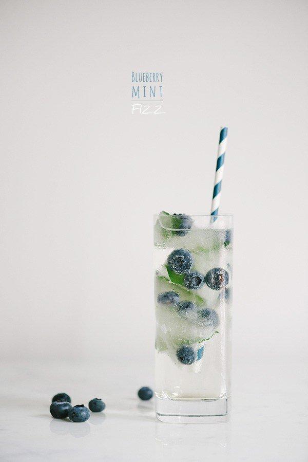 low calorie blueberry mint cocktail
