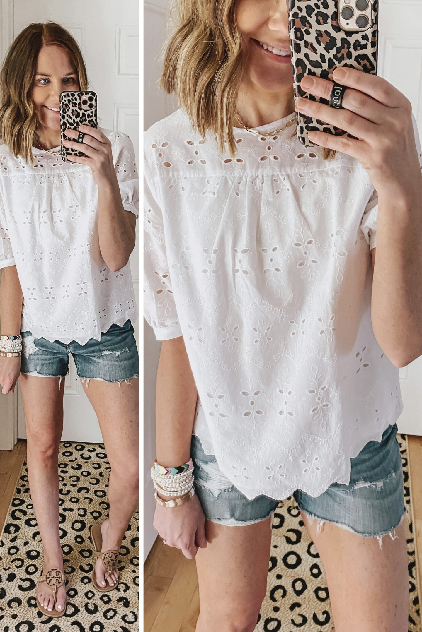 best clothing brands at Walmart, time and tru, eyelet puff sleeve top