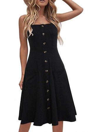 black button front sun dress, Amazon summer dresses, casual dresses, flattering dresses, comfortable dresses