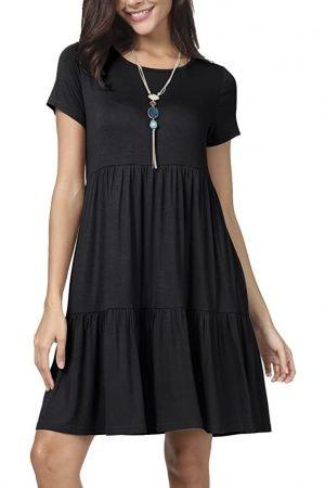 black tiered tee shirt dress
