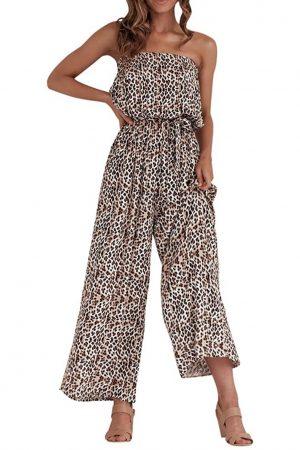 leopard strapless jumpsuit