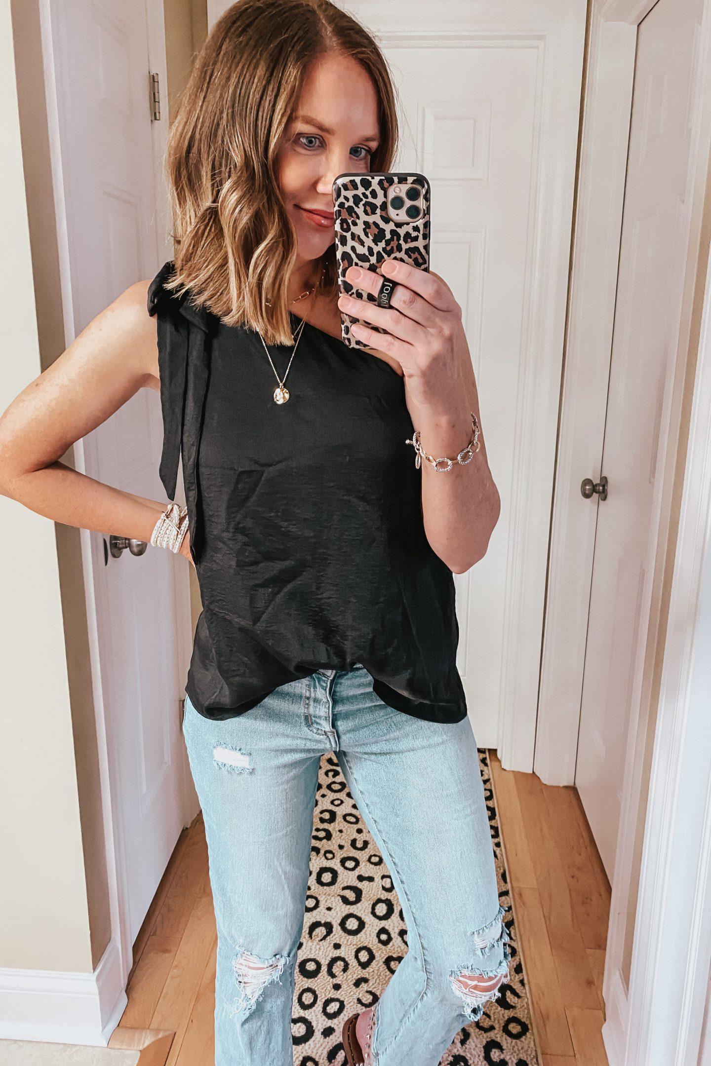 summer-Amazon-style-picks-2020-black-one-shoulder-blouse