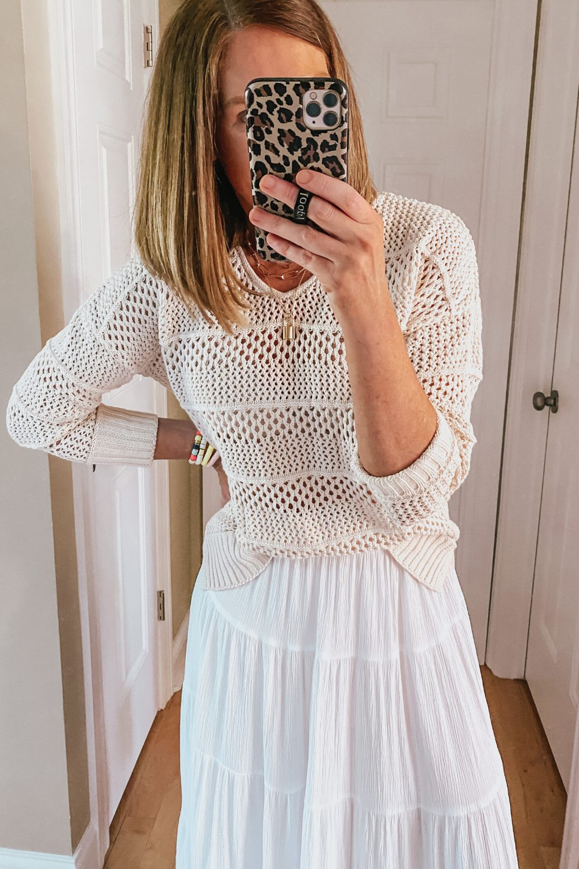 open weave sweater, white maxi skirt