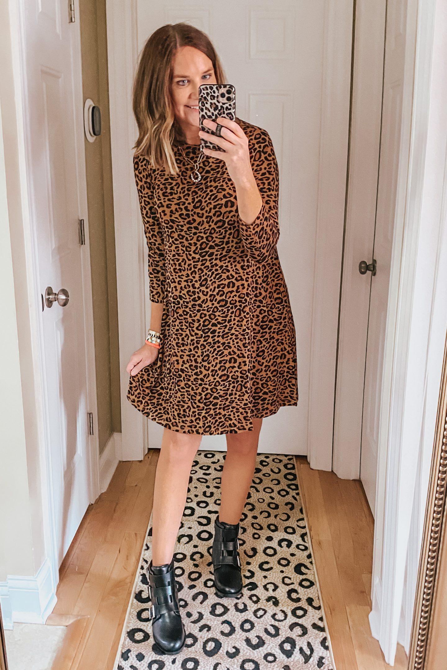 Walmart leopard tee shirt dress