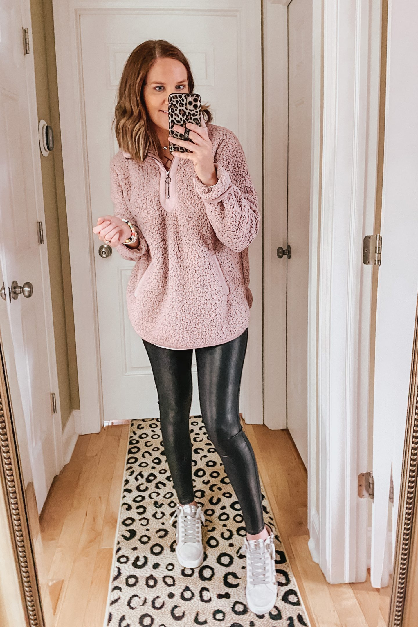 leggings outfit, faux leather leggings, sherpa pullover