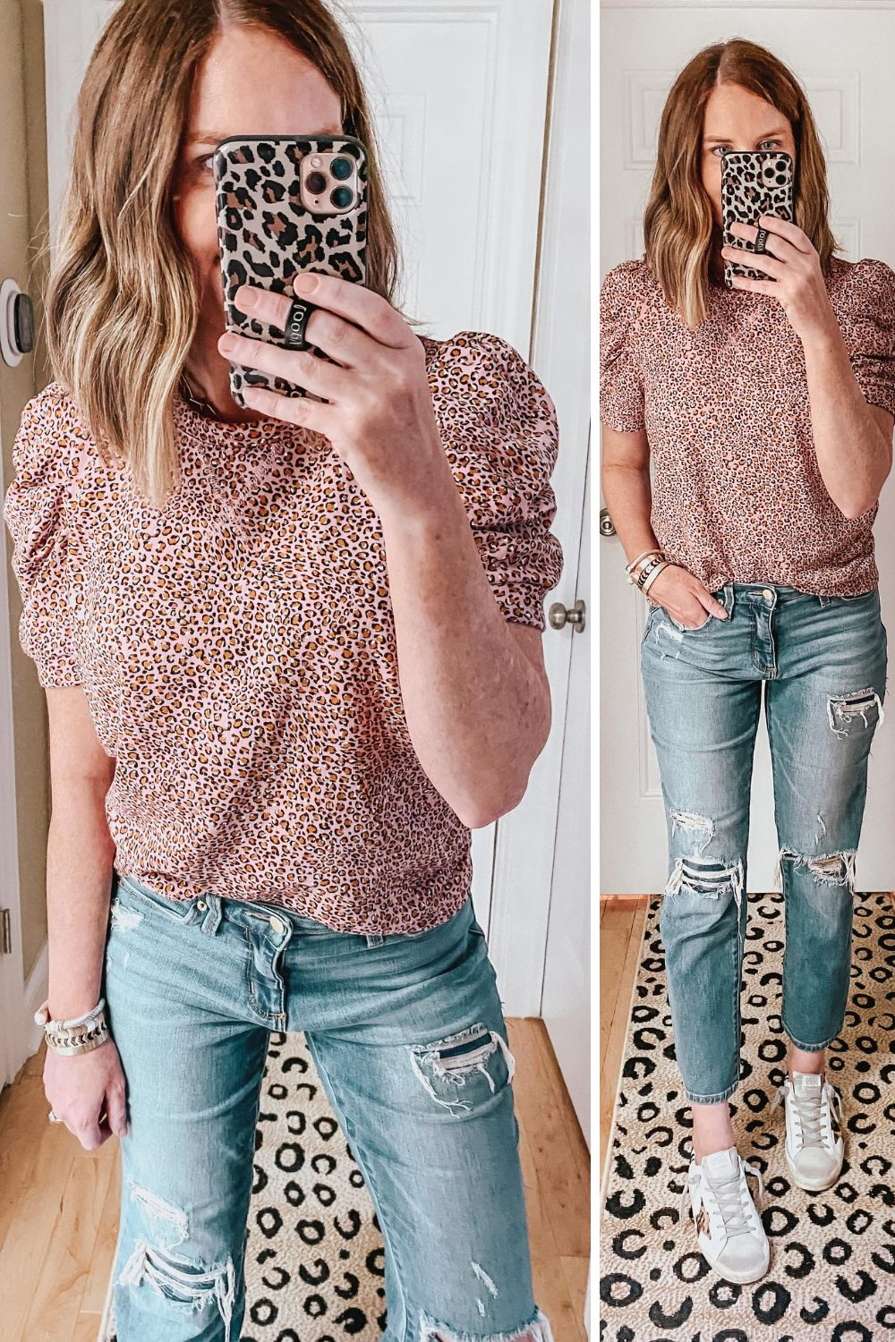 cute-casual-fall-outfits-from-Target-leopard-puff-sleeve-sweatshirt