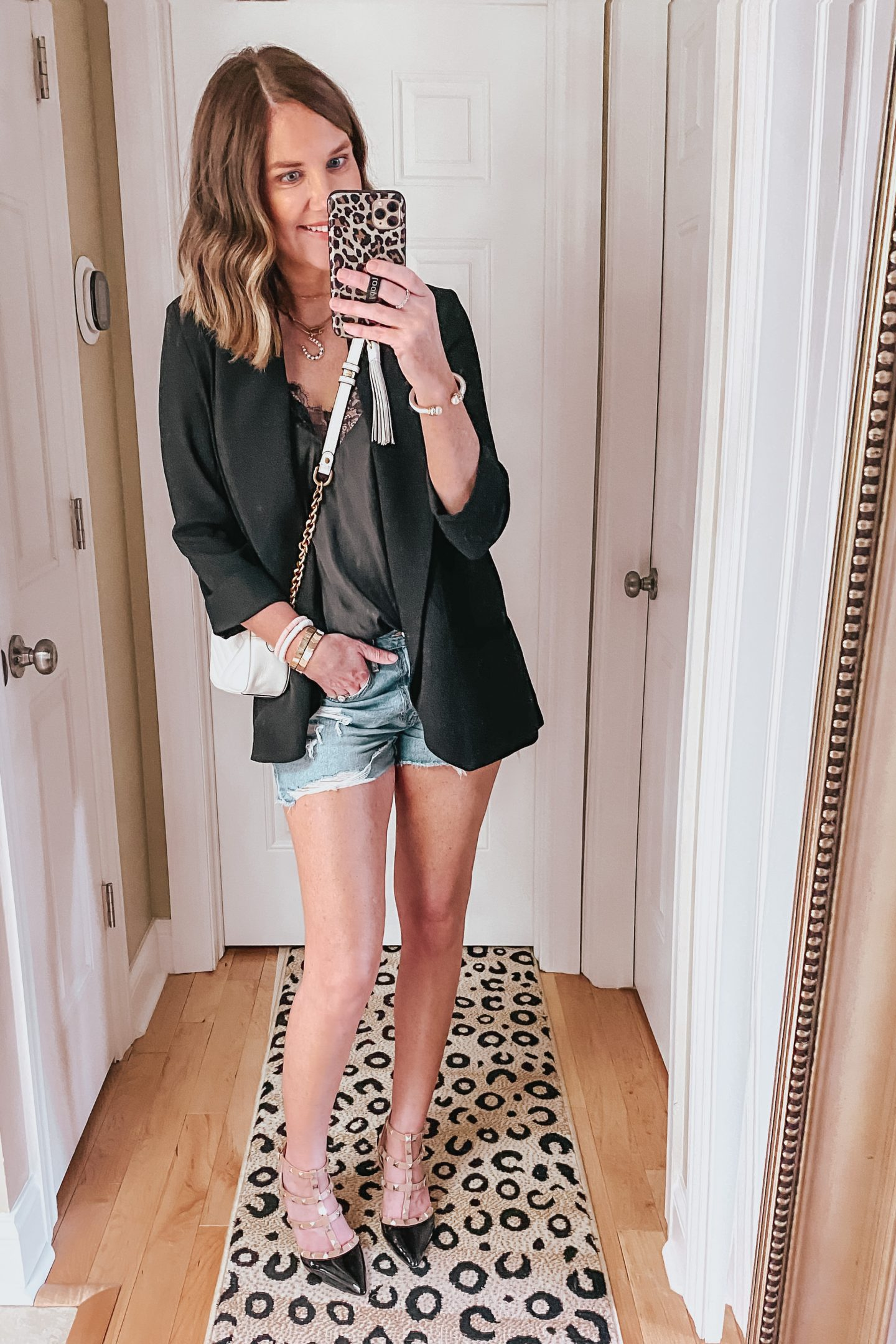 how-to-style-a-blazer-date-night-outfit-lace-cami-studded-heels