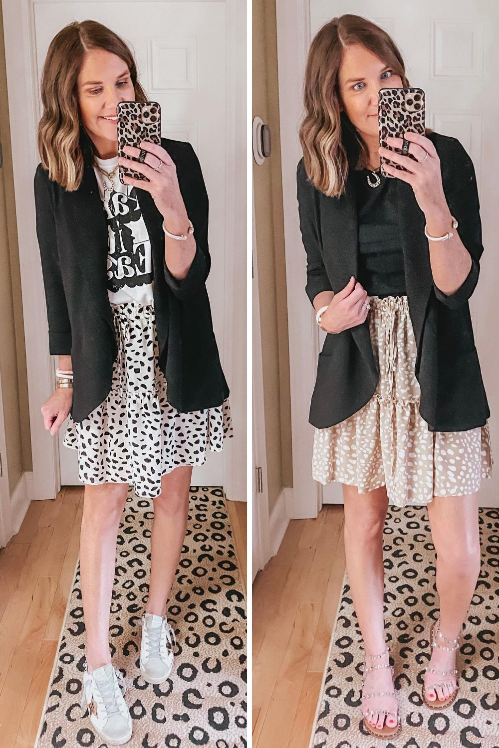 how-to-style-a-blazer-graphic-tee-ruffle-mini-skirt
