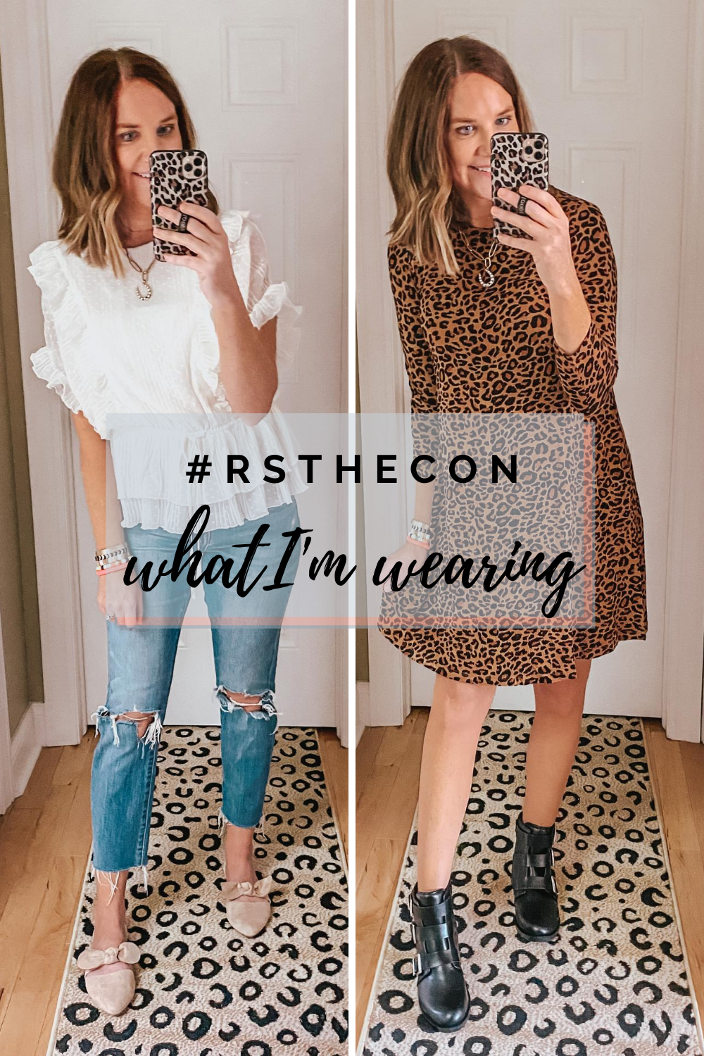 work from home outfits, digital blog conference, fall outfits, leopard dress, ruffle blouse