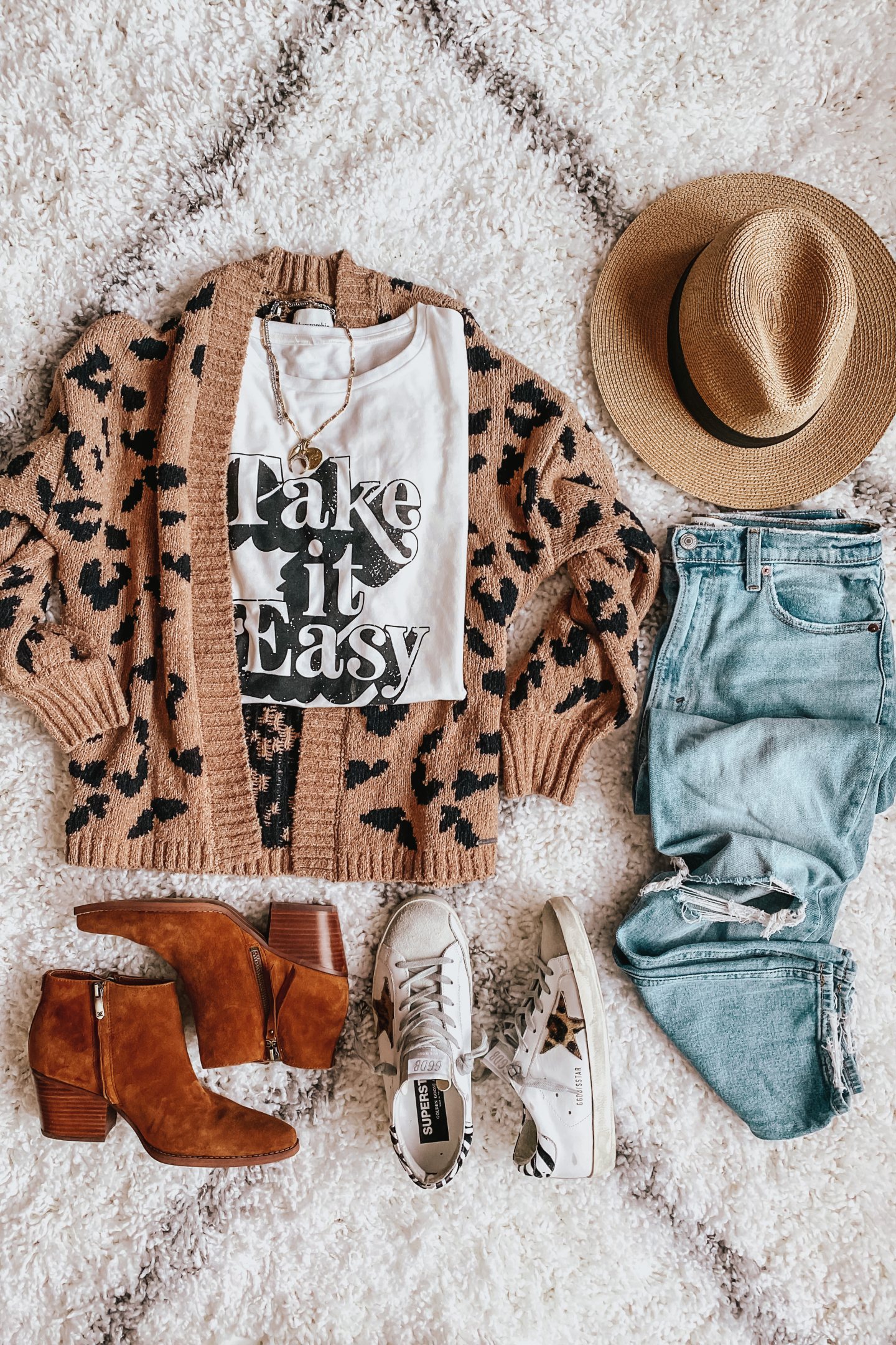 Leopard cardigan, graphic tees, booties, The Best Louis Vuitton Dupes, Fall Outfits