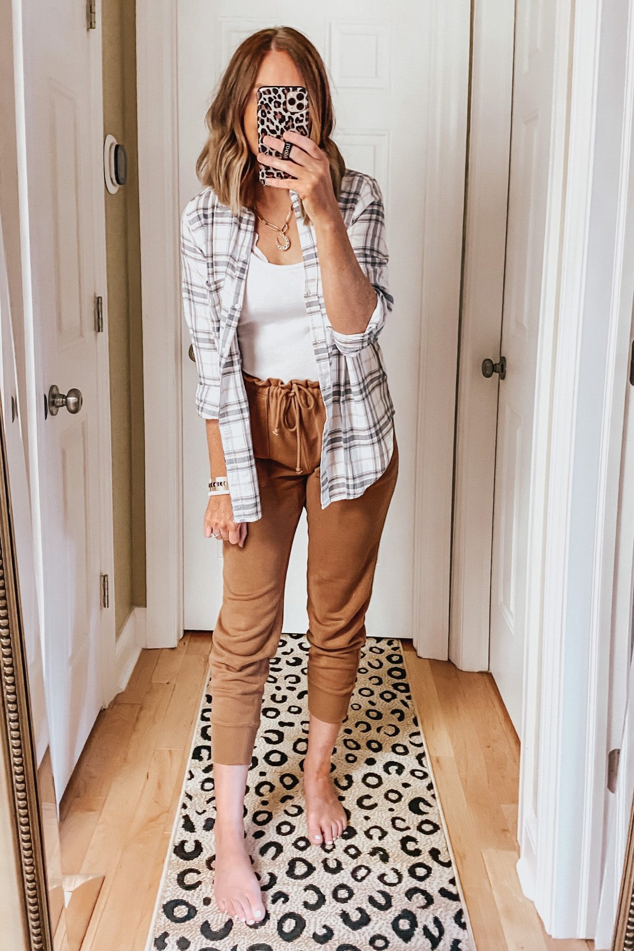 ruffle waist joggers, plaid flannel, casual outfits, The Best Louis Vuitton Dupes, Fall Outfits