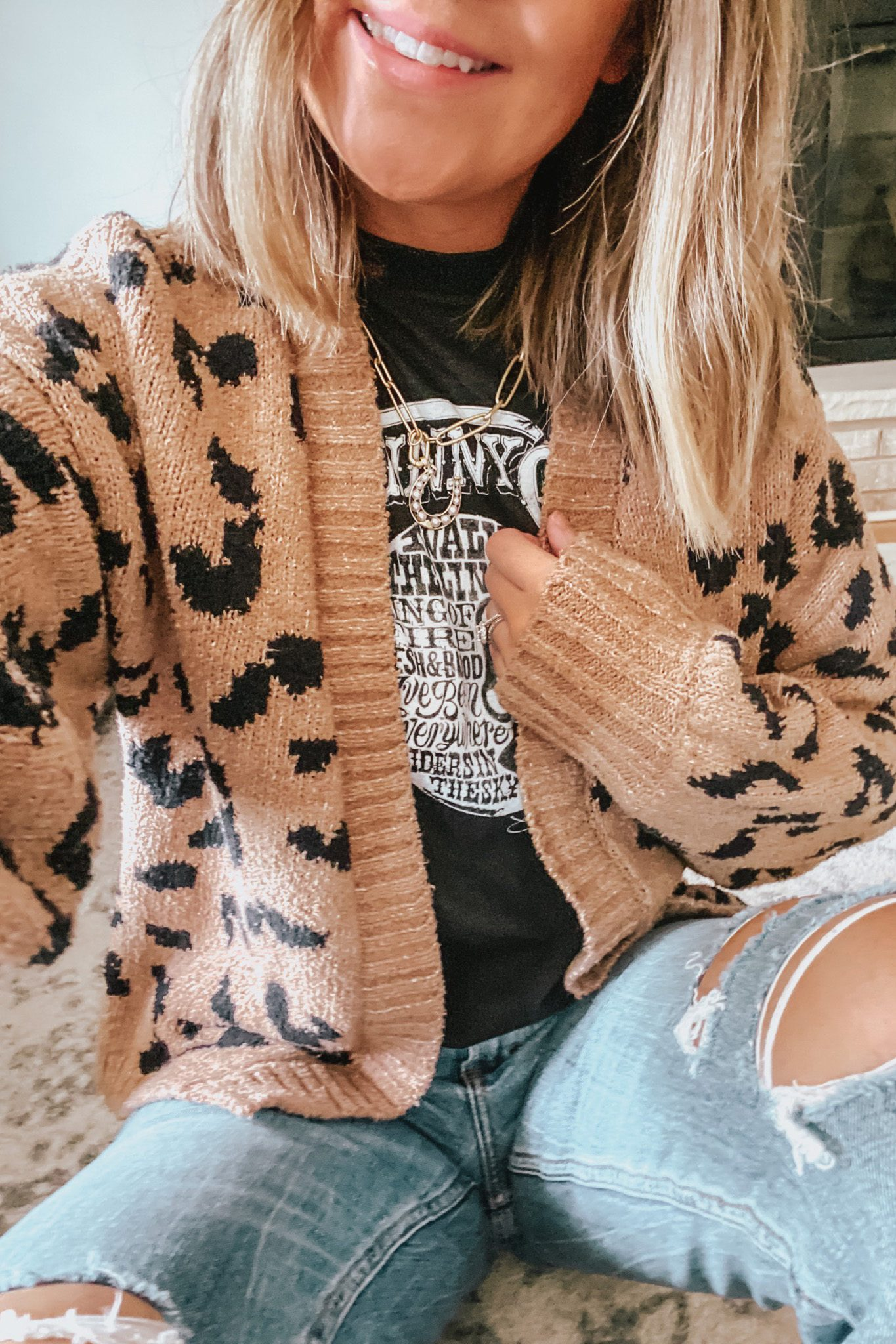 leopard cardigan, graphic tees, The Best Louis Vuitton Dupes, Fall Outfits