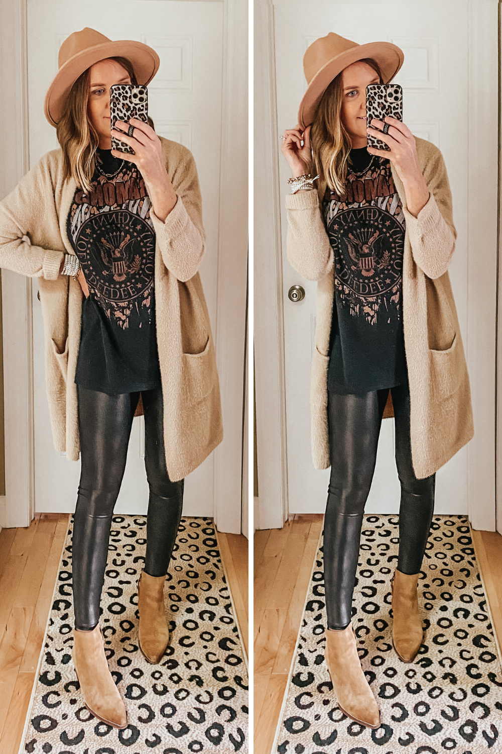 fall capsule wardrobe from Target, Target graphic tees spanx faux leather leggings dupes