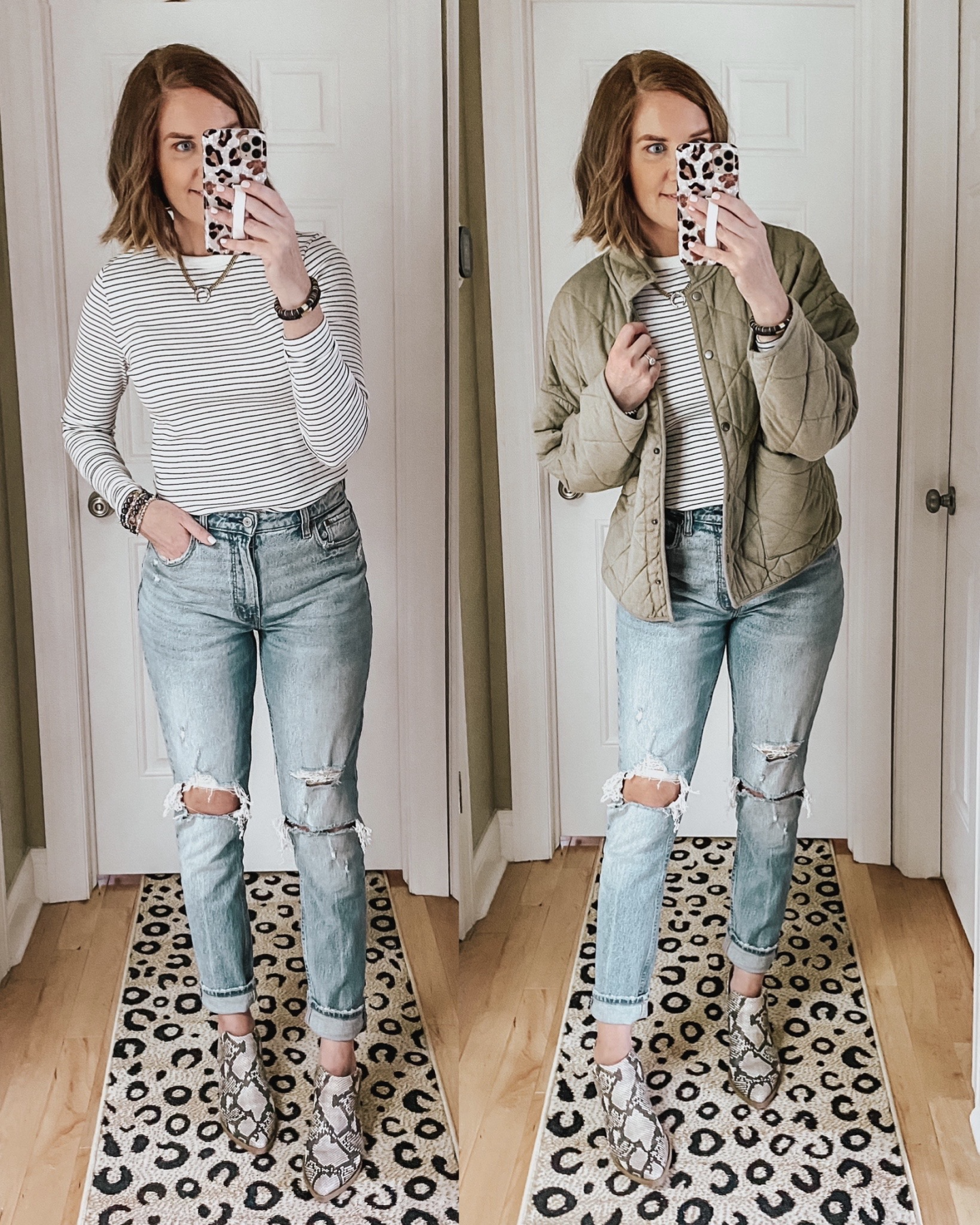 Fall Wardrobe Essentials 2020, layering tee, Z Supply quilted jacket, snake print booties