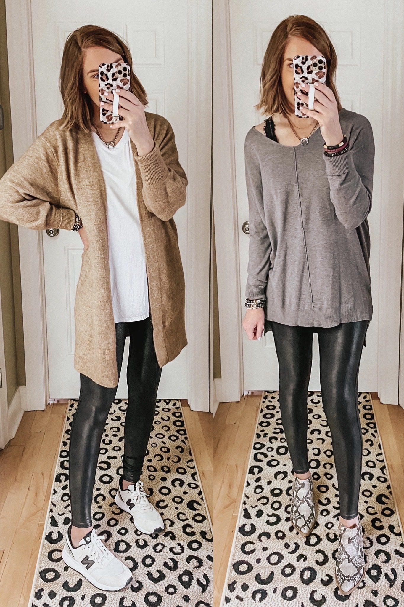 Fall basics, long cardigan, tunic sweater, faux leather leggings outfits