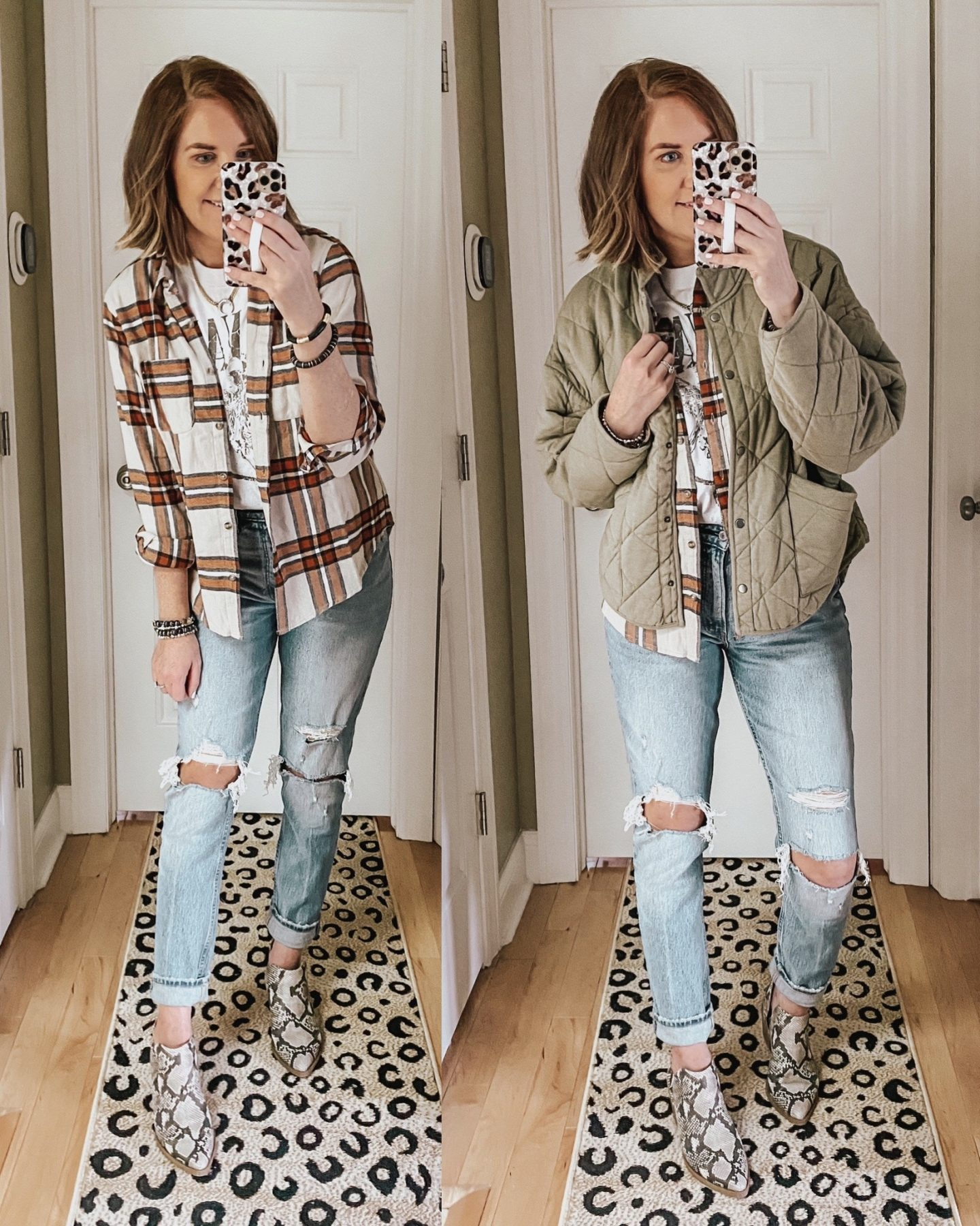 Fall Wardrobe Essentials 2020, plaid flannel, Nirvana graphic tee, Z Supply quilted jacket, snake print booties