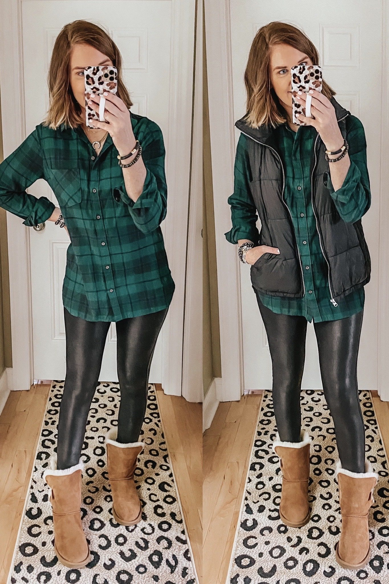 Casual fall outfit, plaid flannel shirt, puffer vest, Ugg Bailey boots