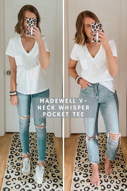 Madewell V-Neck Whisper Pocket tee, The Best Women's white tee shirts