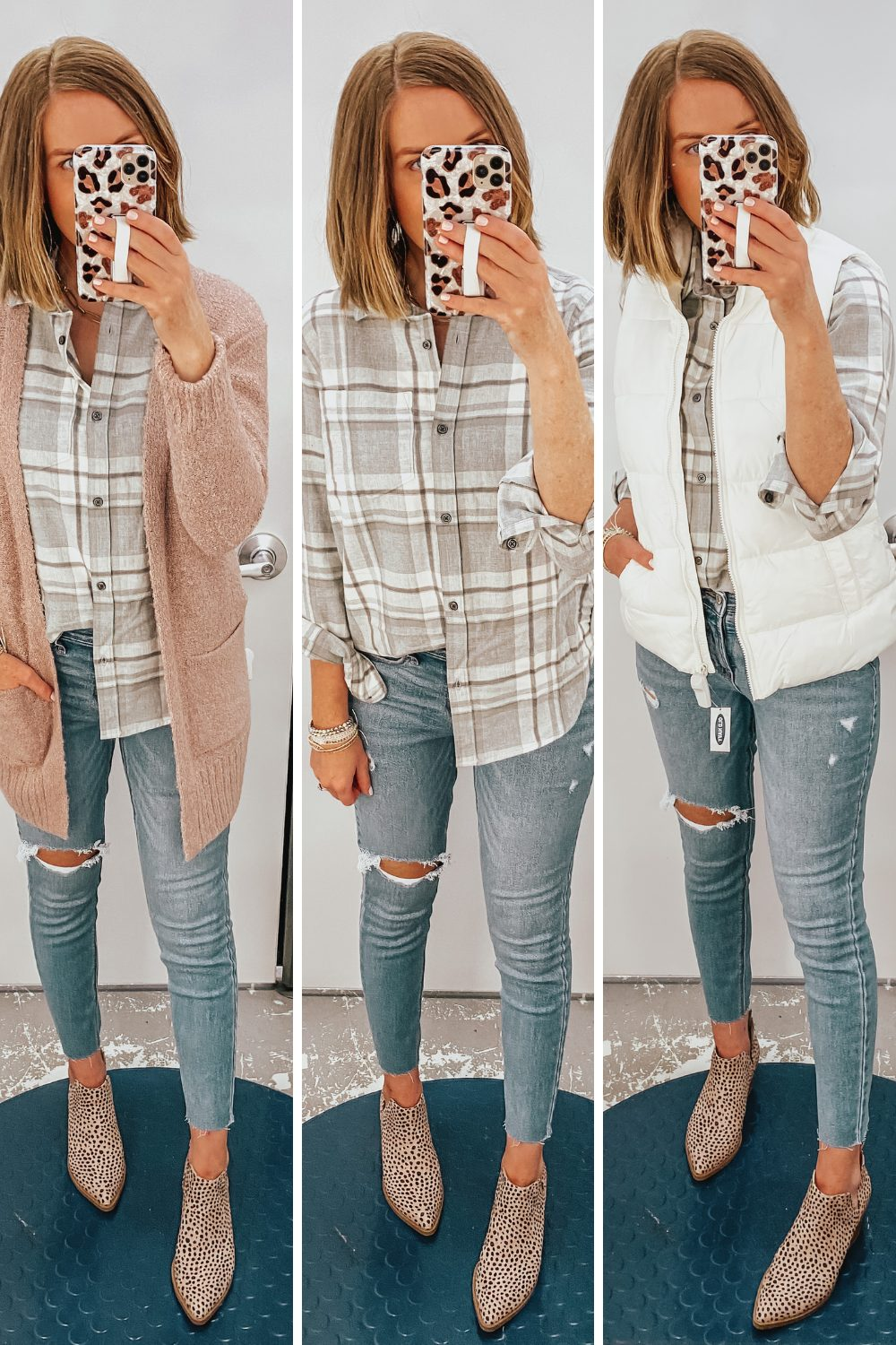 Old Navy fall fashion, plaid flannel shirt, fall layered outfits