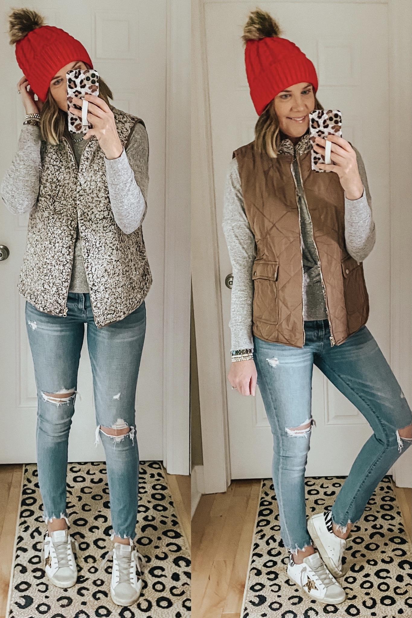 Amazon reversible vest for women, red fur pompom beanie