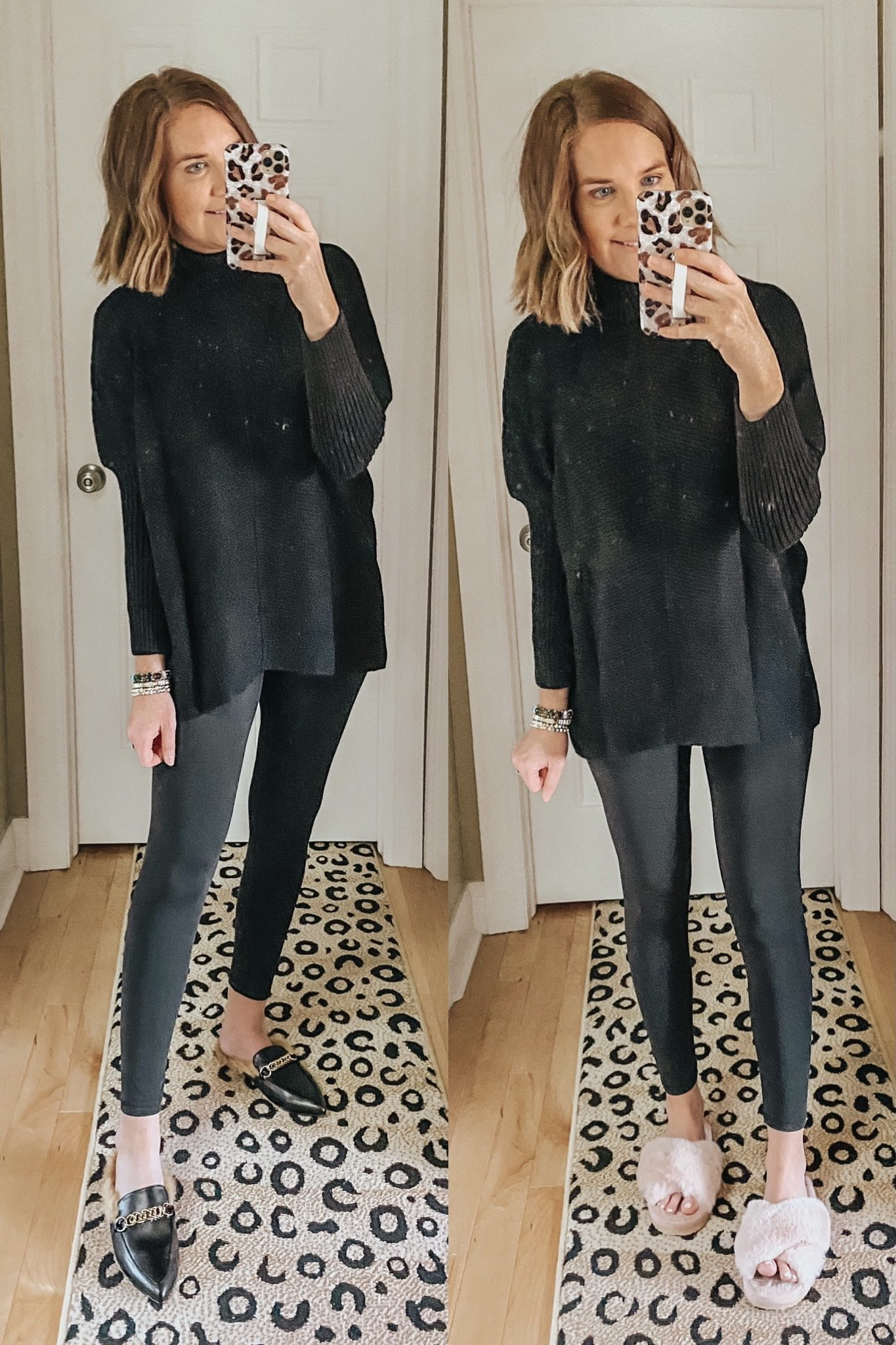 the best Amazon sweater, Free People dupe, slouchy sweater, turtleneck sweater, Lululemon align leggings dupes, casual holiday outfit idea
