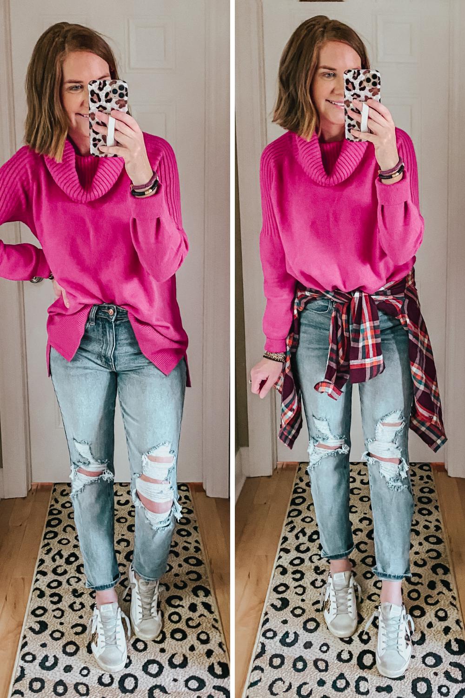 deals for days on Walmart fashion, Walmart bright pink cowl neck sweater