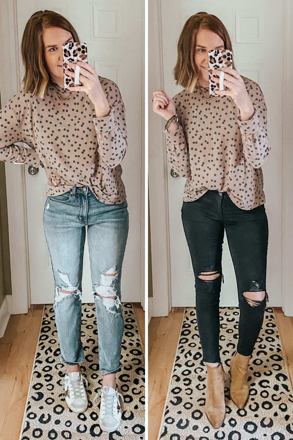 cozy and cute fall outfit ideas from walmart, plush knit dotted top
