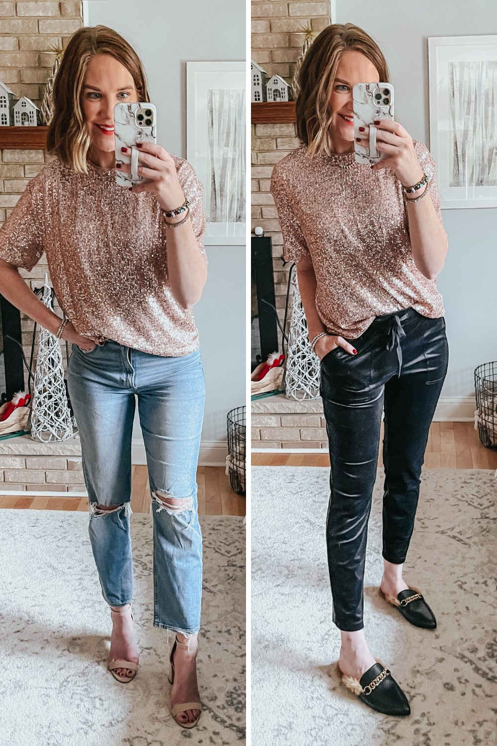 Christmas Outfit Ideas with H&M, sequin tee shirt