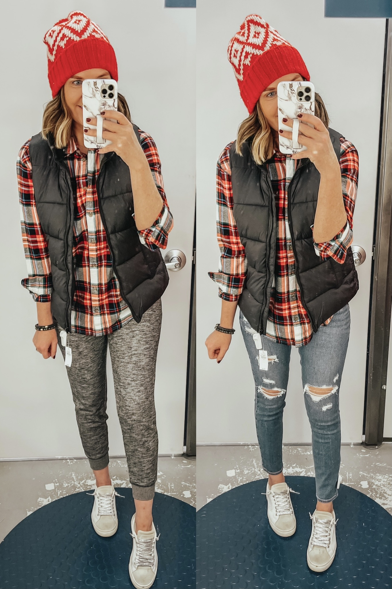 Casual Winter Outfits from Old Navy, Christmas plaid, casual winter outfits, puffer vest